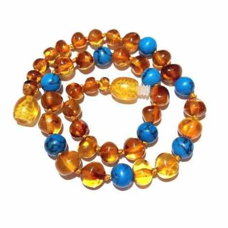 Child Apollo Polished Honey Baltic Amber Blue Green Turquoise Howlite Necklace Jewellery / Necklaces / Beaded Necklaces Love Amber X