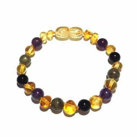 Child Aria Amethyst Labradorite Onyx and Lemon Baltic Amber Anklet Bracelet