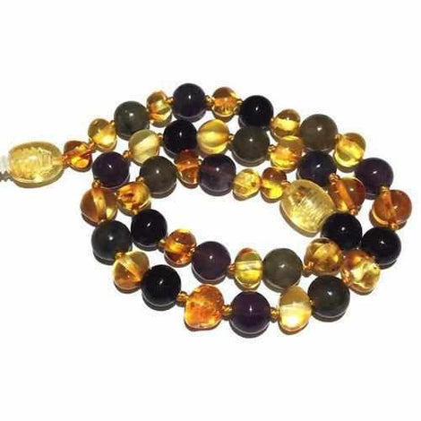 Child Aria Lemon Baltic Amber Amethyst Labradorite Onyx Necklace Jewellery / Necklaces / Beaded Necklaces Love Amber X