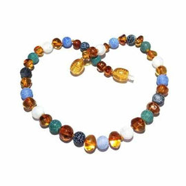 Child Atlantis Blue White Dragon Agate and Honey Baltic Amber Necklace Jewellery / Necklaces / Beaded Necklaces Love Amber X