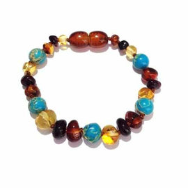 Child Autumn Rain Jasper and Rainbow Baltic Amber Anklet Bracelet Love Amber X