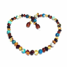 Child Autumn Rain Jasper and Rainbow Mixed Baltic Amber Necklace Jewellery / Necklaces / Beaded Necklaces Love Amber X