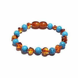 Child Azure Blue Turquoise Howlite Cognac Baltic Amber Anklet Bracelet Jewellery / Body Jewellery / Anklets Love Amber X
