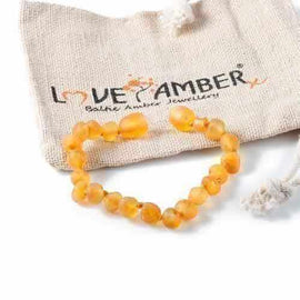 Child Bees Knees Raw Honey Baltic Amber Anklet Bracelet Love Amber X