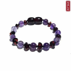 Child Blackberry Amethyst and Cherry Baltic Amber Anklet Bracelet