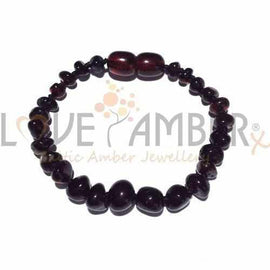 Child Blackforest Polished Dark Cherry Baltic Amber Anklet Bracelet Love Amber X