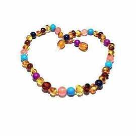 Child Blossom Honey Baltic Amber Purple Howlite Lapis Lazuli Quartz Necklace Jewellery / Necklaces / Beaded Necklaces Love Amber X