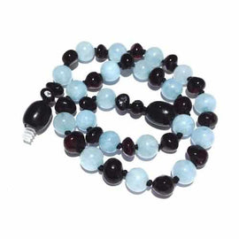 Child Blueberry Blue Aquamarine and Cherry Baltic Amber Anklet Bracelet Jewellery / Body Jewellery / Anklets Love Amber X