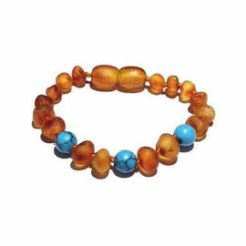 Child Bluebird Raw Honey Blue Turquoise Howlite Baltic Amber Anklet Bracelet Love Amber X