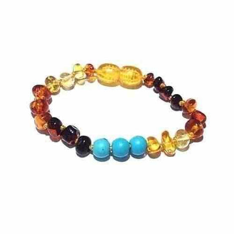 Child Boho Gemstone and Rainbow Baltic Amber Anklet Bracelet Love Amber X