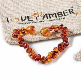 Child Brandy Snap Cognac Baltic Amber Anklet Bracelet Love Amber X