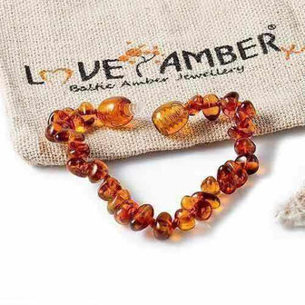 Brandy Snap Cognac Baltic Amber Teething Anklet Bracelet Jewellery / Body Jewellery / Anklets Love Amber X