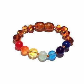 Child Chakra Gemstones and Polished Cognac Baltic Amber Anklet Bracelet Love Amber X