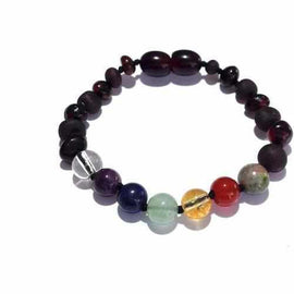 Child Chakra Rainbow After The Storm Mixed Cherry Baltic Amber Anklet Bracelet