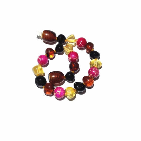Child Cherry Bomb Pink Jasper and Rainbow Baltic Amber Anklet Bracelet Jewellery / Body Jewellery / Anklets Love Amber X