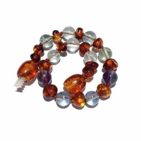 Child Dark Brigid Fluorite and Cognac Baltic Amber Anklet Bracelet Jewellery / Body Jewellery / Anklets Love Amber X