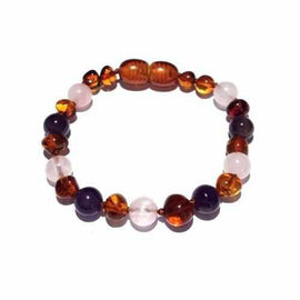 Child Dark Tara Amethyst Rose Quartz Cognac Baltic Amber Anklet Bracelet Jewellery / Body Jewellery / Anklets Love Amber X