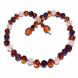 Child Dark Tara Cognac Baltic Amber Amethyst Rose Quartz Necklace Jewellery / Necklaces / Beaded Necklaces Love Amber X