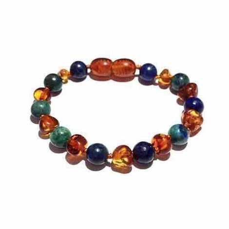 Child Earth Lapis Chrysocolla Cognac Baltic Amber Anklet Bracelet Jewellery / Body Jewellery / Anklets Love Amber X