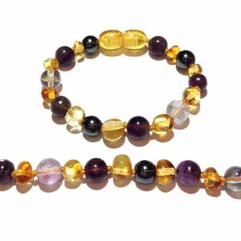 Child Eirene Gemstones and Honey Baltic Amber Anklet Bracelet