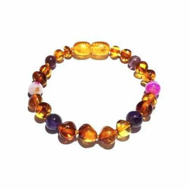 Child Emily Amethyst Purple Pink Agate and Honey Baltic Amber Anklet Bracelet Jewellery / Body Jewellery / Anklets Love Amber X