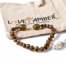 Child Enchanted Raw Green Baltic Amber Anklet Bracelet Love Amber X