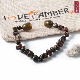 Child Evergreen Polished Green Baltic Amber Anklet Bracelet
