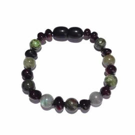 Child Helios Labradorite Bloodstone Polished Cherry Baltic Amber Anklet Bracelet