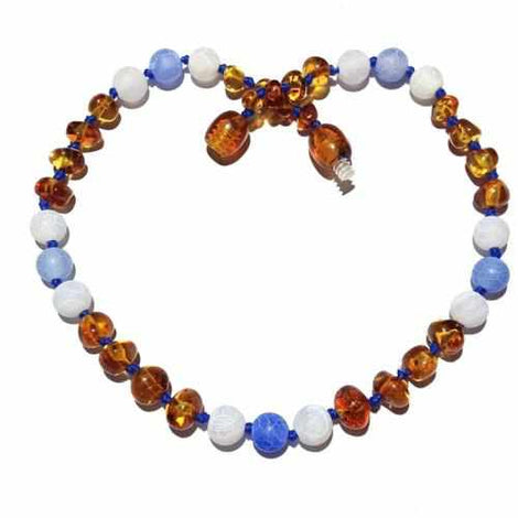 Child Honey Baltic Amber and Blue White Agate Necklace Love Amber X