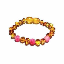 Child Honeysuckle Pink Agate Polished Honey Baltic Amber Anklet Bracelet Love Amber X