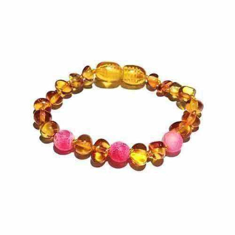 Child Honeysuckle Pink Agate Polished Honey Baltic Amber Anklet Bracelet Jewellery / Body Jewellery / Anklets Love Amber X