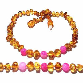 Child Honeysuckle Polished Honey Baltic Amber Pink Agate Necklace