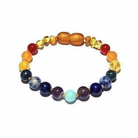 Child Iris Gemstones and Honey Baltic Amber Anklet Bracelet