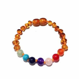 Child Jellybean Chakra Gemstones Polished Honey Baltic Amber Anklet Bracelet
