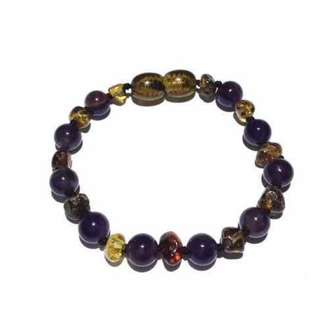 Child Layla Amethyst and Green Baltic Amber Anklet Bracelet Jewellery / Body Jewellery / Anklets Love Amber X