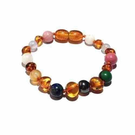 Child Lucina Gemstones and Honey Baltic Amber Anklet Bracelet Jewellery / Body Jewellery / Anklets Love Amber X