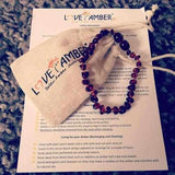 Child Marina Blue Aquamarine Polished Cognac Baltic Amber Anklet Bracelet Jewellery / Body Jewellery / Anklets Love Amber X