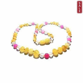 Child Marshmallow Butterscotch Baltic Amber Pink Dragon Agate Necklace Jewellery / Necklaces / Beaded Necklaces Love Amber X