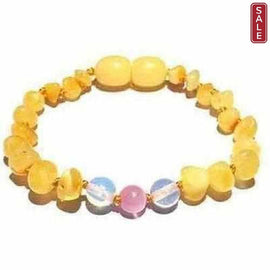 Child Marshmallow Pink Dragon Agate and Butterscotch Baltic Amber Anklet Bracelet