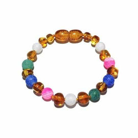 Child Mermaid Pink Blue Green Dragon Agate and Honey Baltic Amber Anklet Bracelet