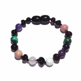 Child Midnight Ariana Gemstones and Honey Baltic Amber Anklet