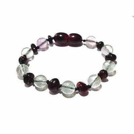 Child Midnight Brigid Fluorite and Cherry Baltic Amber Anklet