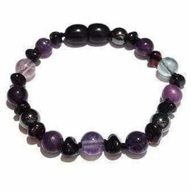Child Midnight Eirene Gemstones and Cherry Baltic Amber Anklet Bracelet Jewellery / Body Jewellery / Anklets Love Amber X