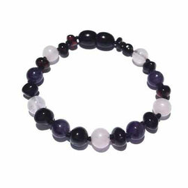 Child Midnight Tara Amethyst Rose Quartz and Cherry Baltic Amber Anklet