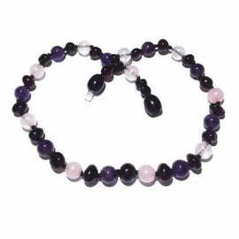 Child Midnight Tara Cherry Baltic Amber Amethyst Rose Quartz Necklace Jewellery / Necklaces / Beaded Necklaces Love Amber X