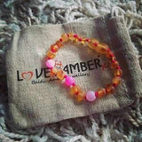 Child Nurture Raw Honey Pink Dragon Agate Baltic Amber Anklet Bracelet Jewellery / Body Jewellery / Anklets Love Amber X