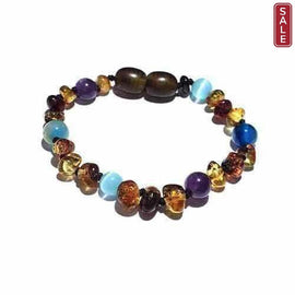 Child Ocean Amethyst Blue Cats Eyes Agate and Green Baltic Amber Anklet Bracelet