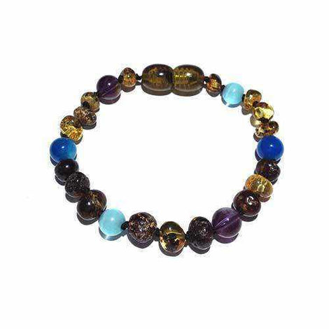 Child Ocean Amethyst Blue Cats Eyes Agate and Green Baltic Amber Anklet Bracelet Jewellery / Body Jewellery / Anklets Love Amber X