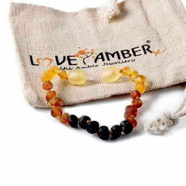 Child Ombre Raw Rainbow Baltic Amber Anklet Bracelet