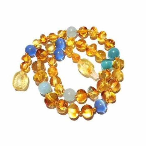 Child Paradise Baltic Amber Blue Cats Eyes Aquamarine Gemstone Necklace Jewellery / Necklaces / Beaded Necklaces Love Amber X